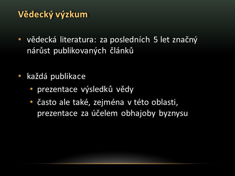 Vědecký výzkum vědecká literatura: za posledních 5 let značný nárůst publikovaných článků. každá publikace.