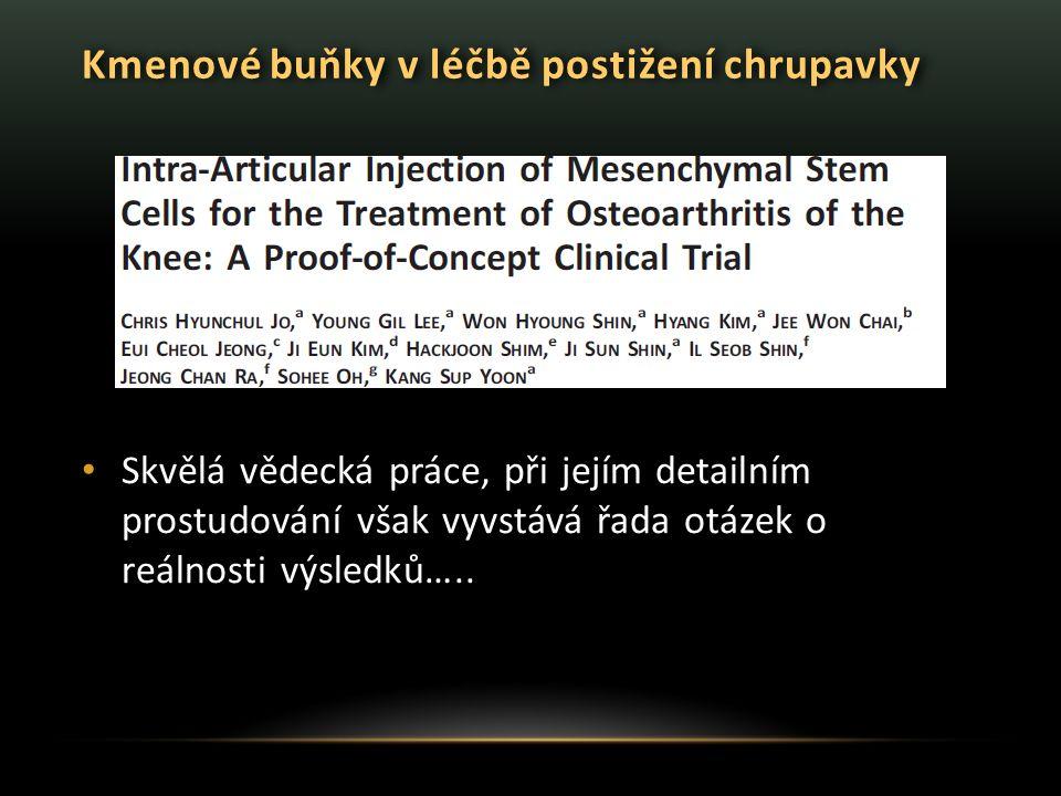 Kmenové buňky v léčbě postižení chrupavky