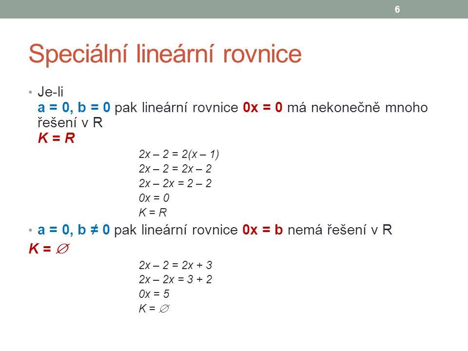 Speciální lineární rovnice