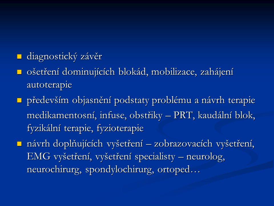 diagnostický závěr ošetření dominujících blokád, mobilizace, zahájení autoterapie. především objasnění podstaty problému a návrh terapie.
