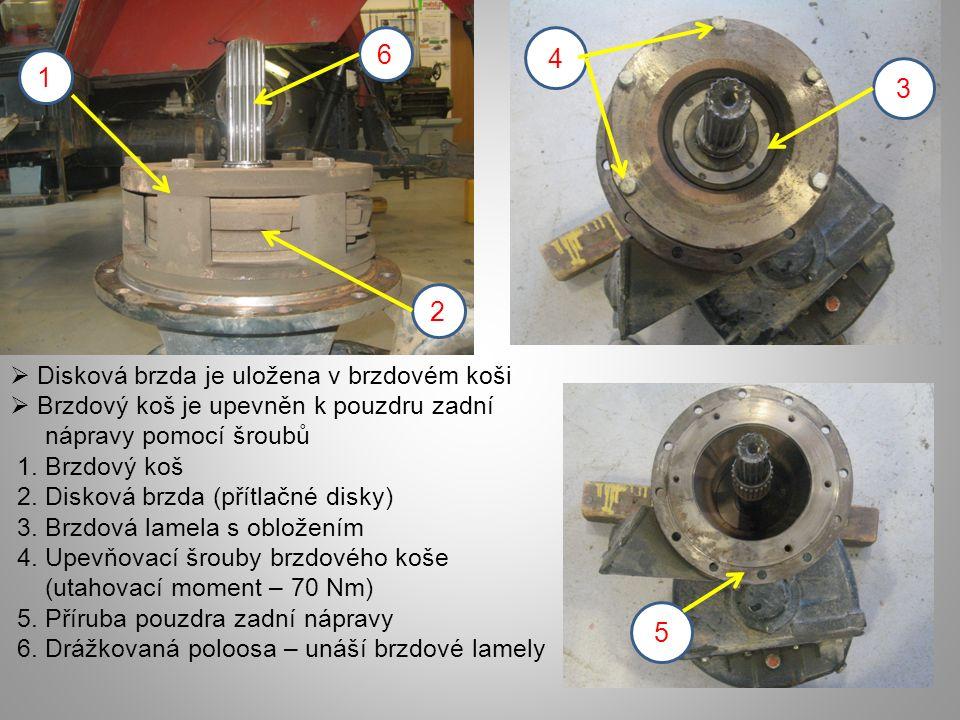 6 4 1 3 2 5 Disková brzda je uložena v brzdovém koši
