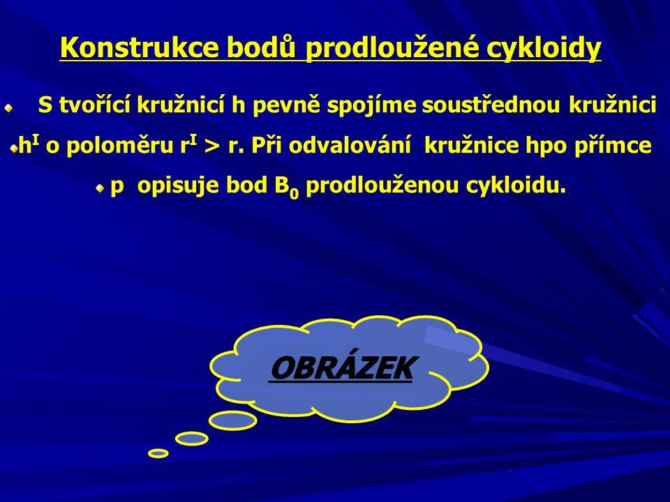 OBRÁZEK Konstrukce bodů prodloužené cykloidy
