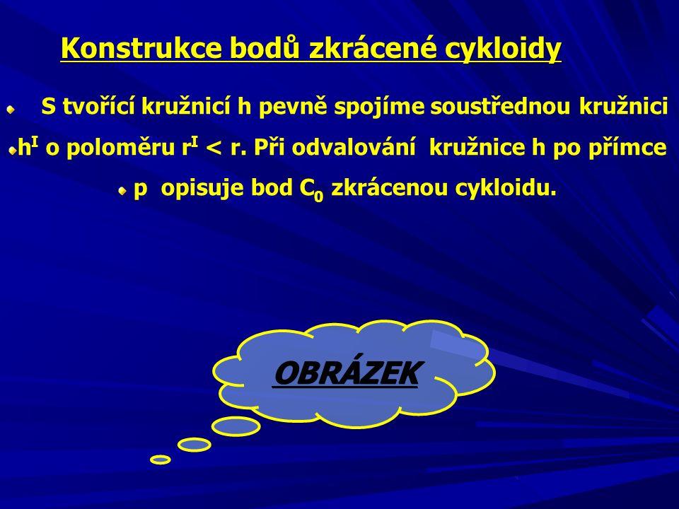 OBRÁZEK Konstrukce bodů zkrácené cykloidy