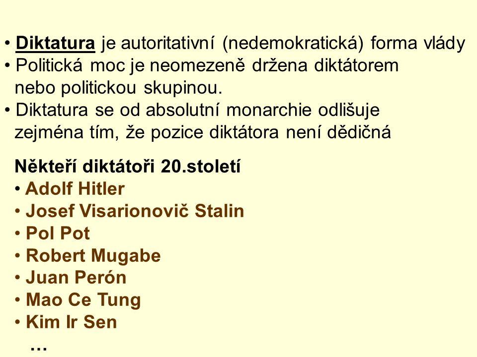 Diktatura je autoritativní (nedemokratická) forma vlády