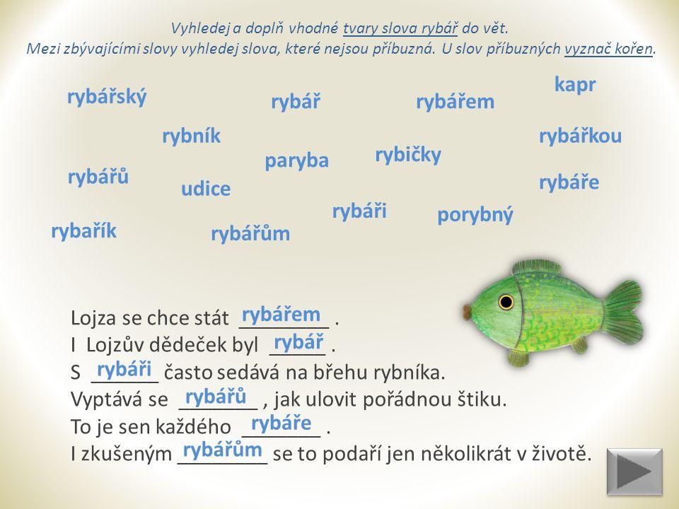 Vyhledej a doplň vhodné tvary slova rybář do vět.