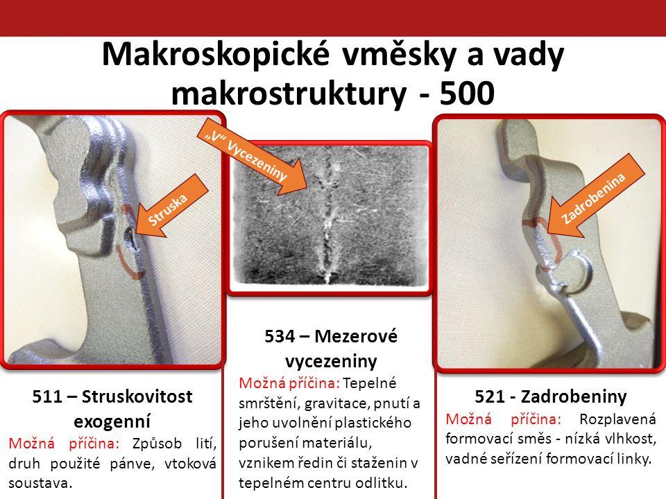 Makroskopické vměsky a vady makrostruktury - 500