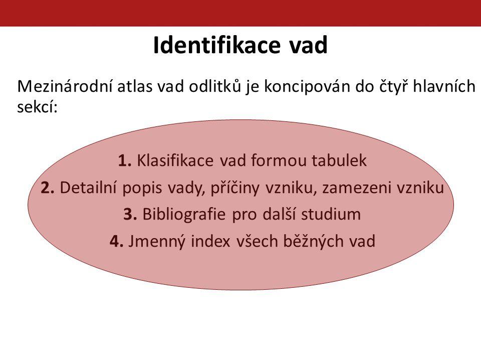 Identifikace vad Mezinárodní atlas vad odlitků je koncipován do čtyř hlavních sekcí: 1. Klasifikace vad formou tabulek.