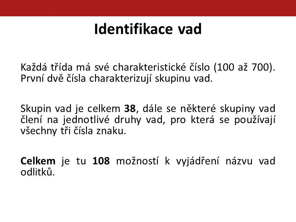 Identifikace vad Každá třída má své charakteristické číslo (100 až 700). První dvě čísla charakterizují skupinu vad.