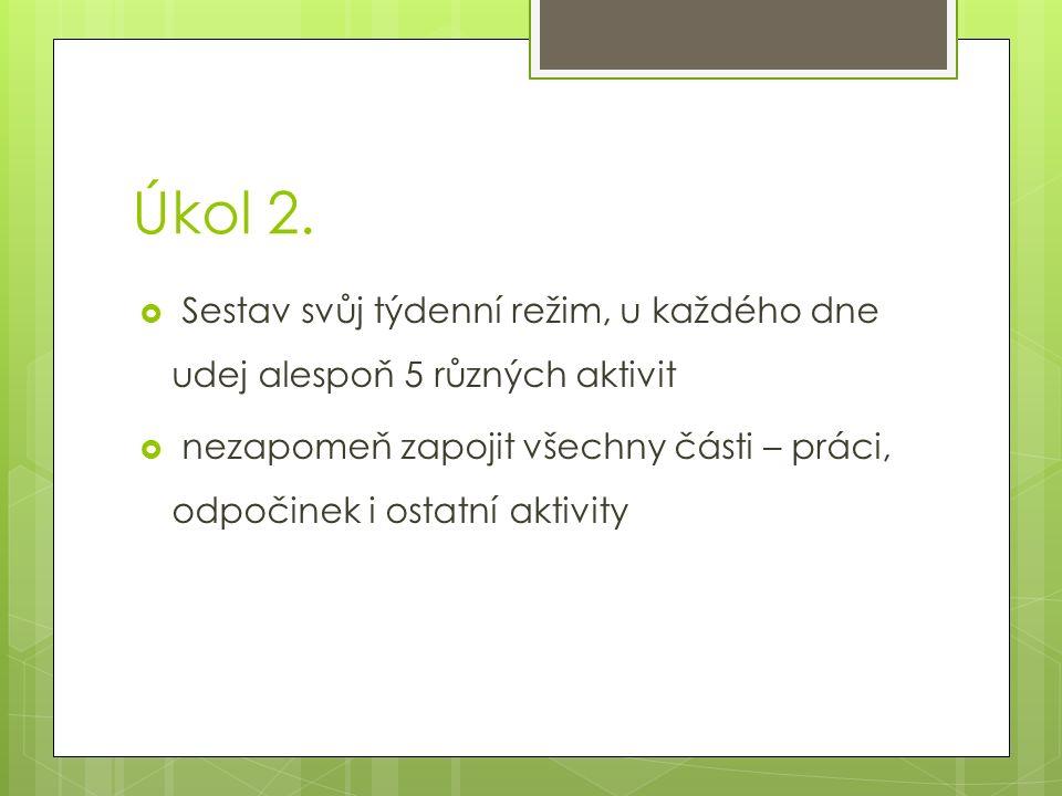 Úkol 2. Sestav svůj týdenní režim, u každého dne udej alespoň 5 různých aktivit.