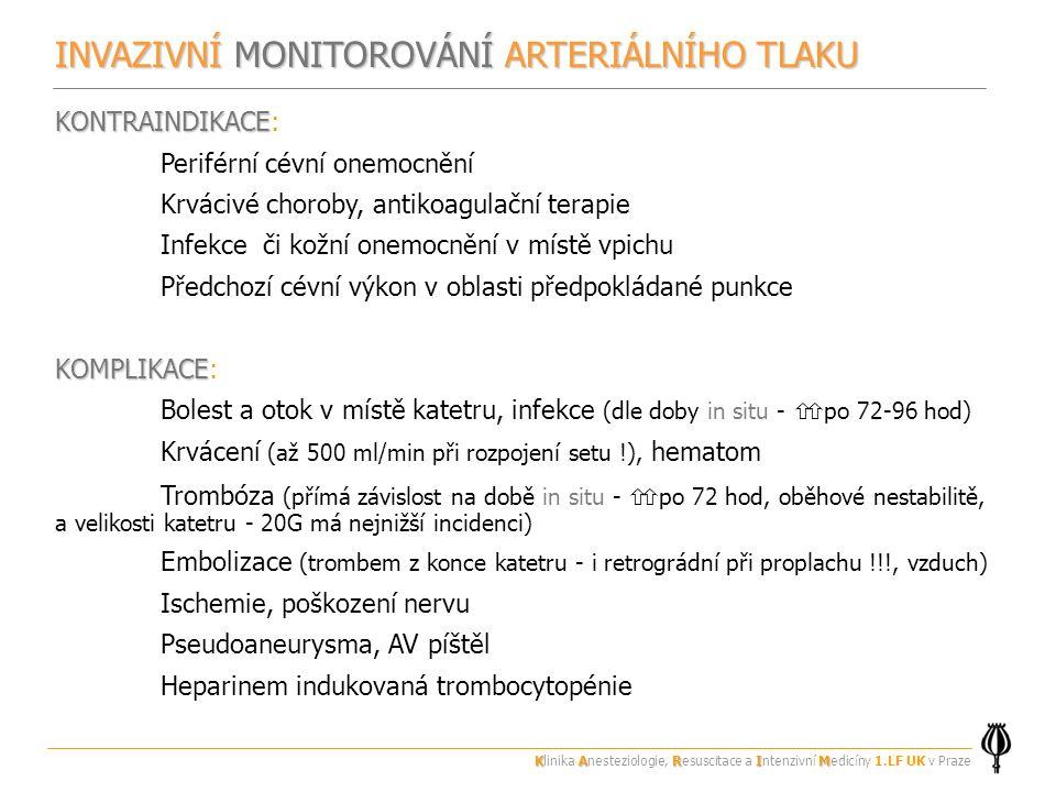 INVAZIVNÍ MONITOROVÁNÍ ARTERIÁLNÍHO TLAKU