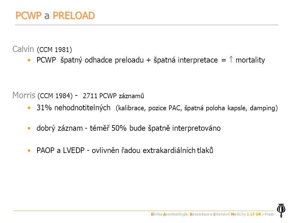 PCWP a PRELOAD Calvin (CCM 1981) Morris (CCM 1984) - 2711 PCWP záznamů