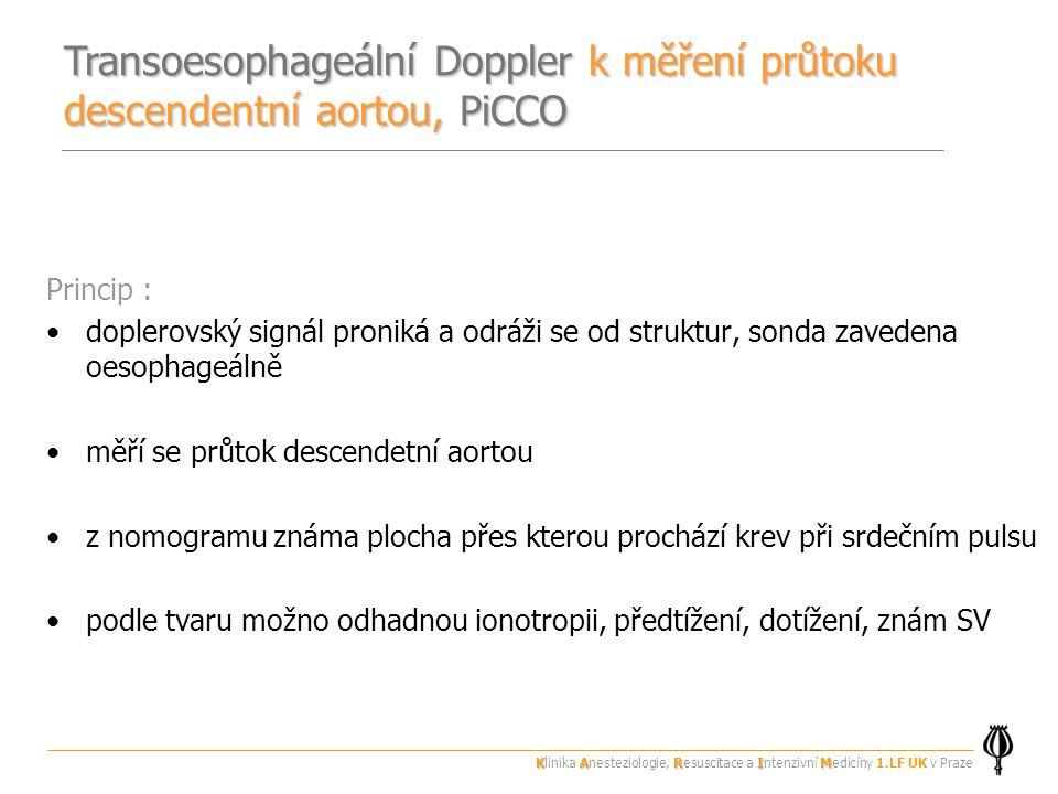 Transoesophageální Doppler k měření průtoku descendentní aortou, PiCCO