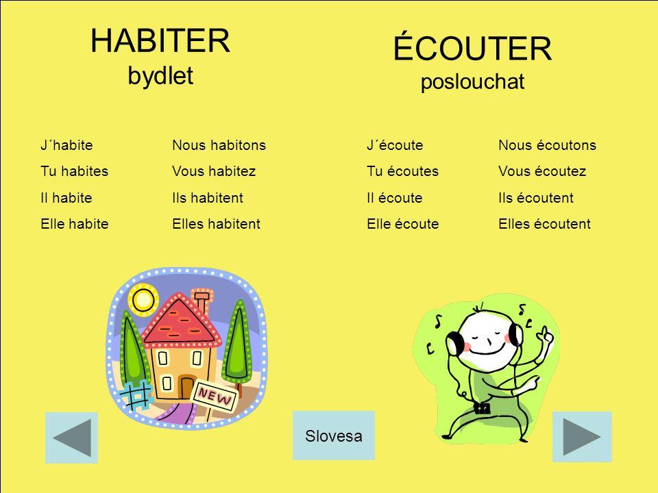 HABITER bydlet ÉCOUTER poslouchat Slovesa J´habite Nous habitons