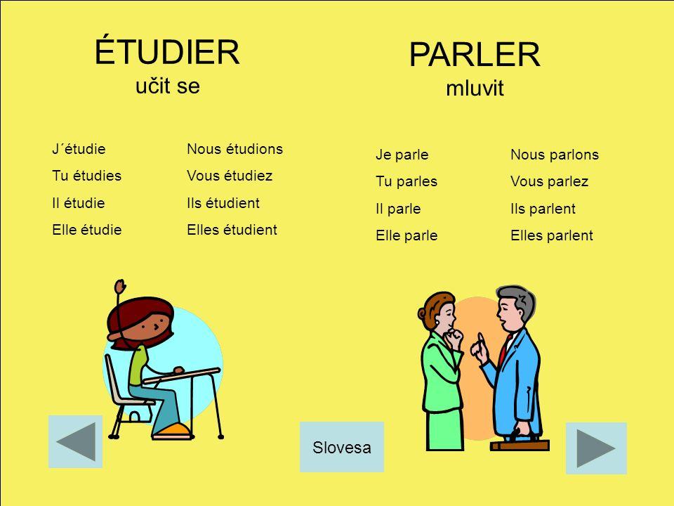 ÉTUDIER učit se PARLER mluvit Slovesa J´étudie Nous étudions