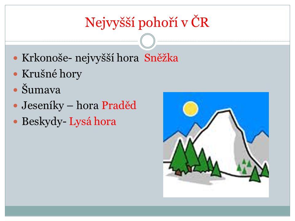 Nejvyšší pohoří v ČR Krkonoše- nejvyšší hora Sněžka Krušné hory Šumava