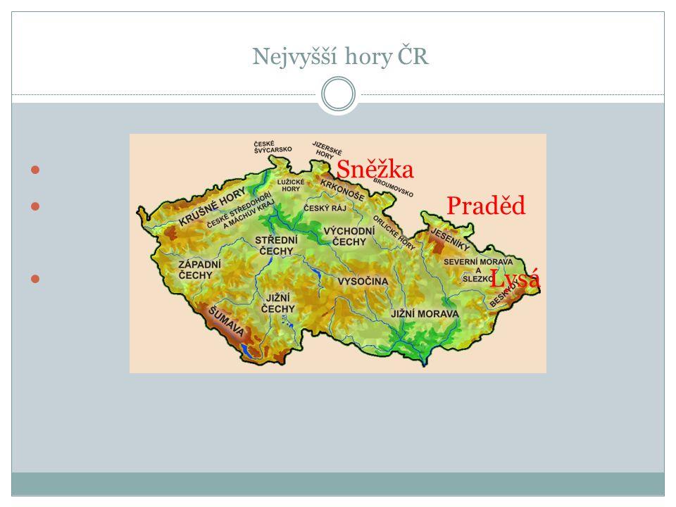 Nejvyšší hory ČR Sněžka Praděd Lysá