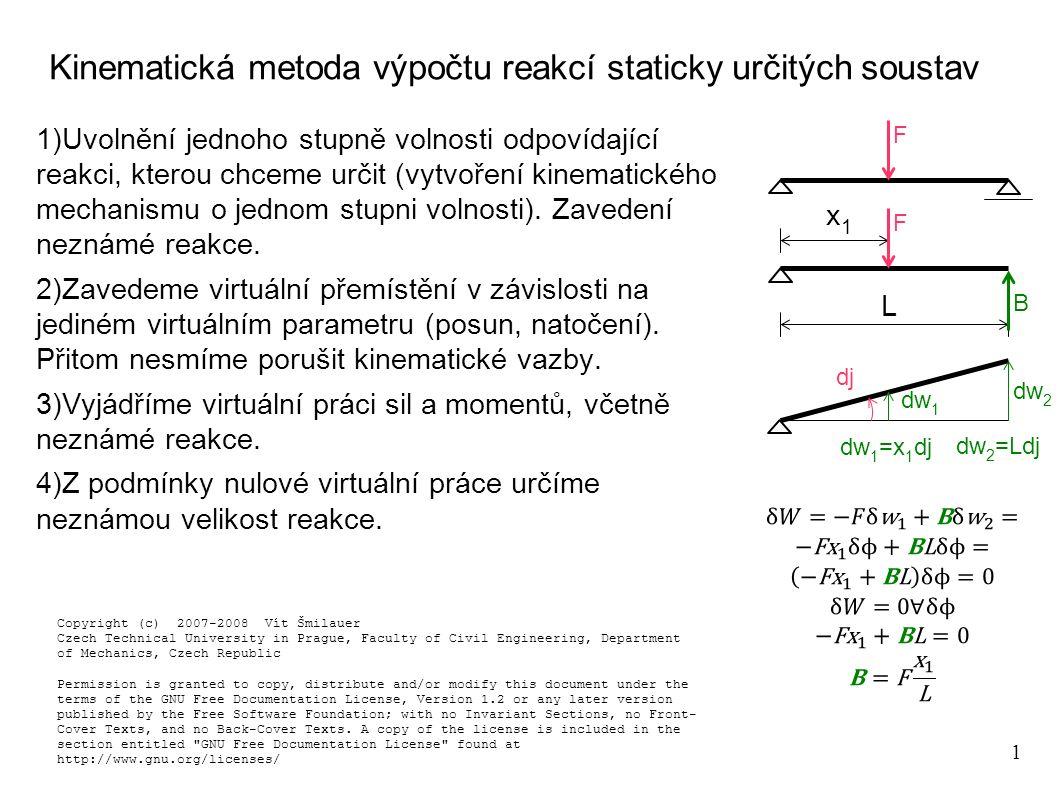 Kinematická metoda výpočtu reakcí staticky určitých soustav