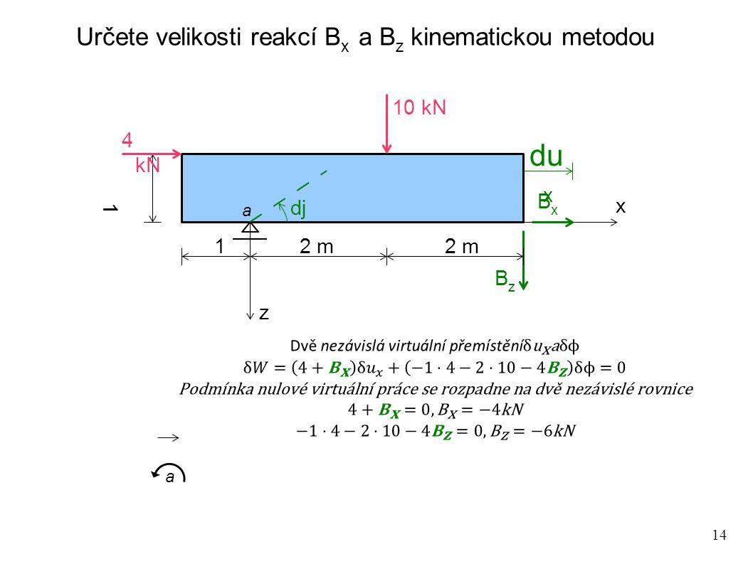 Určete velikosti reakcí Bx a Bz kinematickou metodou