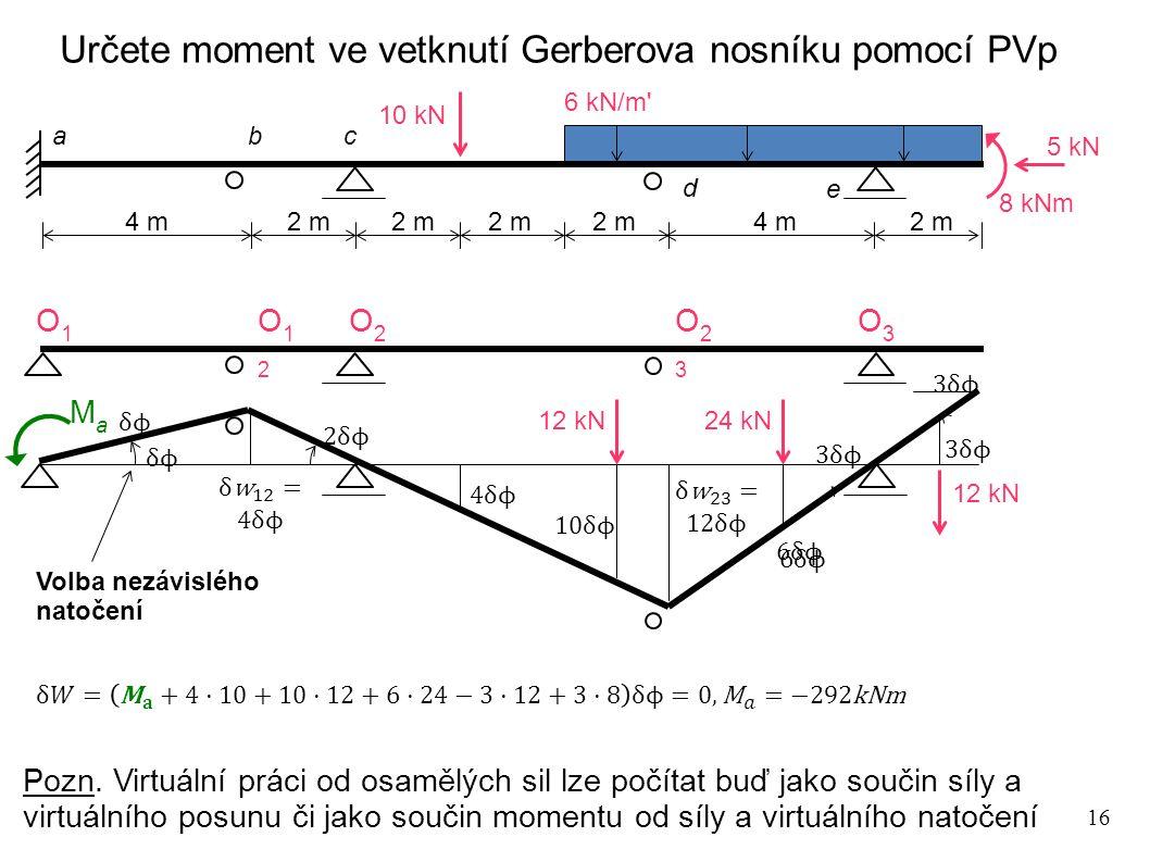 Určete moment ve vetknutí Gerberova nosníku pomocí PVp