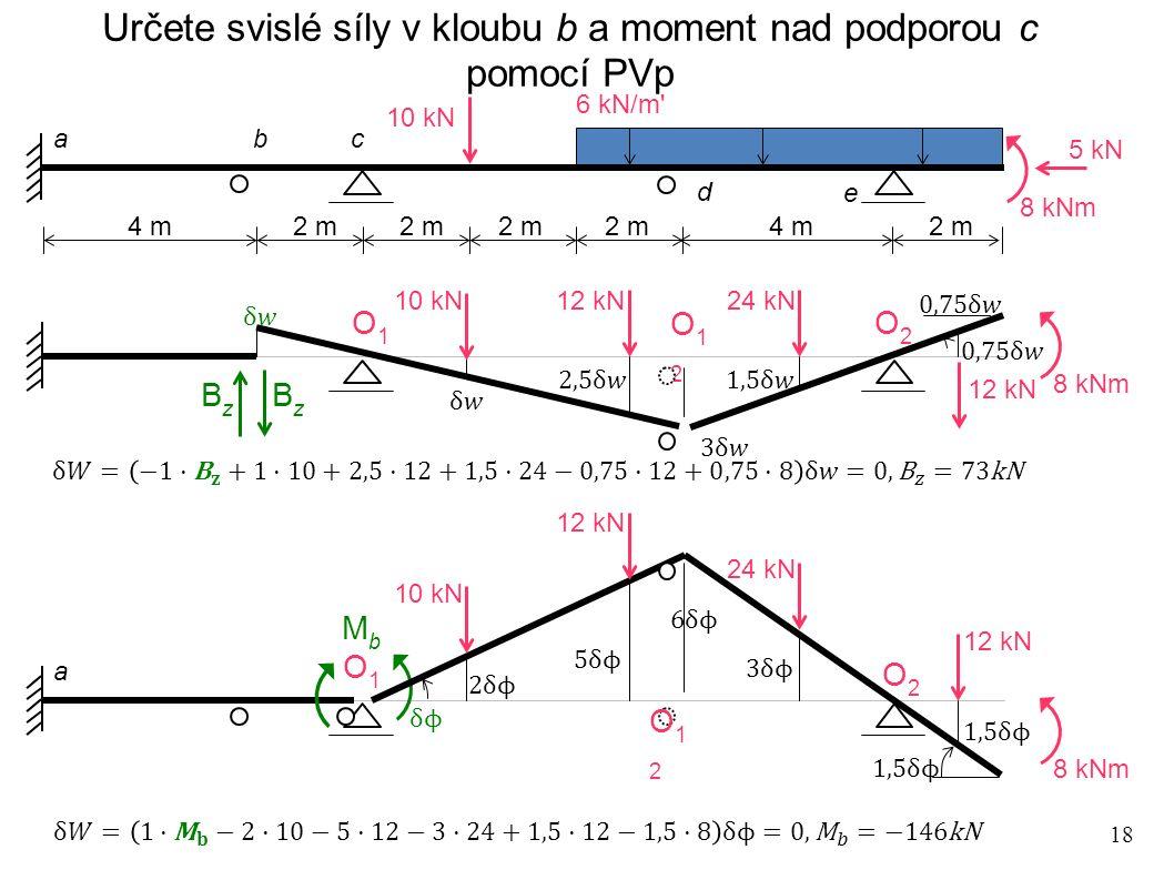 Určete svislé síly v kloubu b a moment nad podporou c pomocí PVp