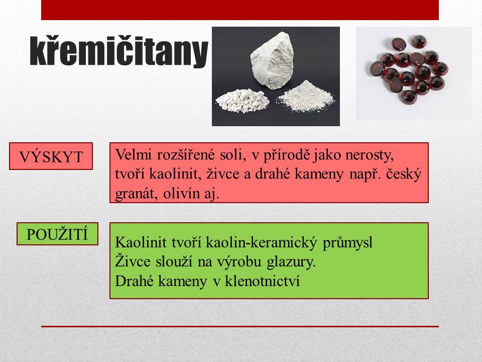 křemičitany VÝSKYT. Velmi rozšířené soli, v přírodě jako nerosty, tvoří kaolinit, živce a drahé kameny např. český granát, olivín aj.