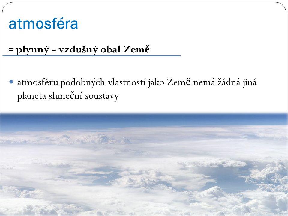 atmosféra = plynný - vzdušný obal Země.
