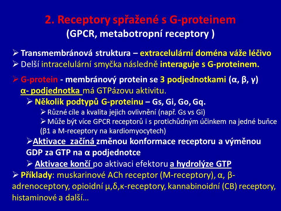 2. Receptory spřažené s G-proteinem (GPCR, metabotropní receptory )
