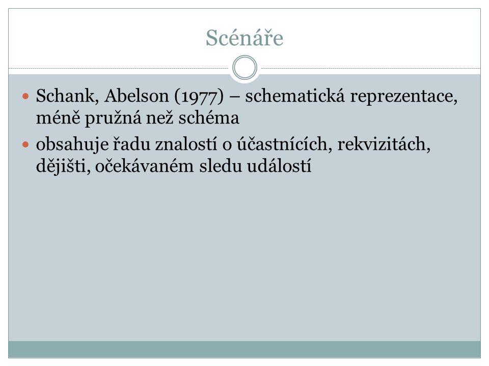 Scénáře Schank, Abelson (1977) – schematická reprezentace, méně pružná než schéma.
