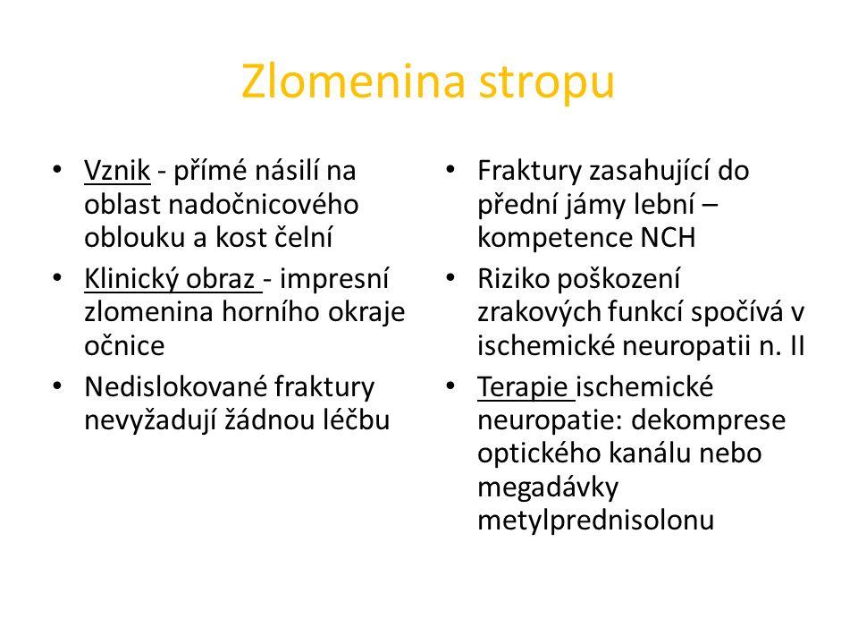Zlomenina stropu Vznik - přímé násilí na oblast nadočnicového oblouku a kost čelní. Klinický obraz - impresní zlomenina horního okraje očnice.