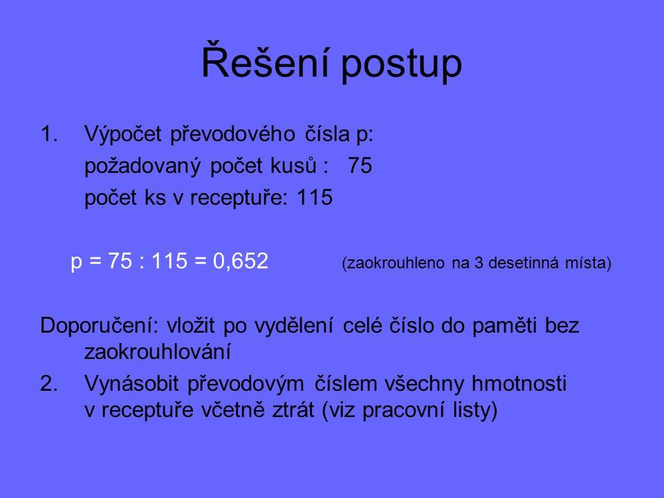 Řešení postup Výpočet převodového čísla p: požadovaný počet kusů : 75
