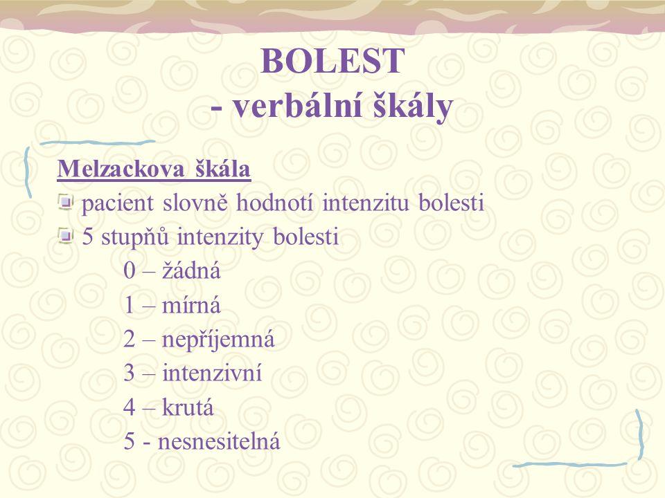 BOLEST - verbální škály
