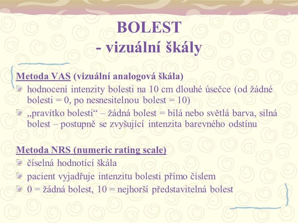 BOLEST - vizuální škály