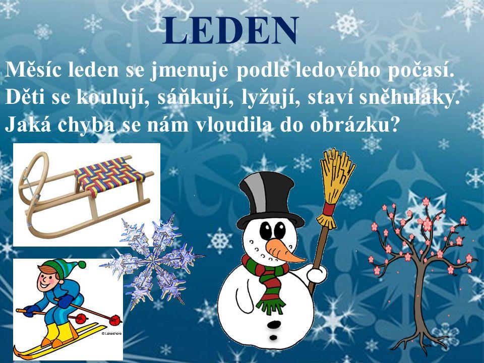 LEDEN Měsíc leden se jmenuje podle ledového počasí. Děti se koulují, sáňkují, lyžují, staví sněhuláky.