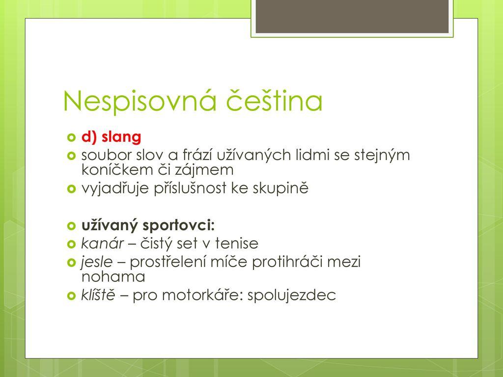Nespisovná čeština d) slang