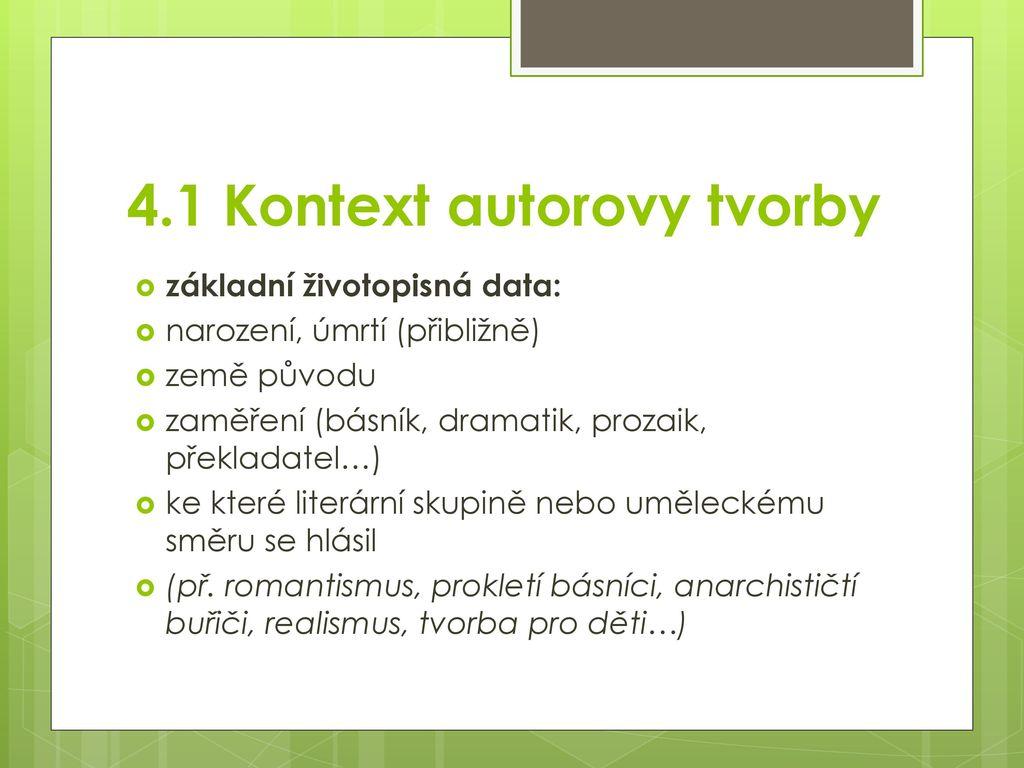 4.1 Kontext autorovy tvorby