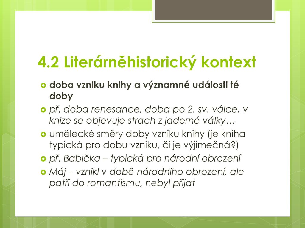 4.2 Literárněhistorický kontext