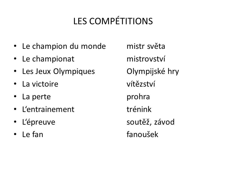 LES COMPÉTITIONS Le champion du monde mistr světa
