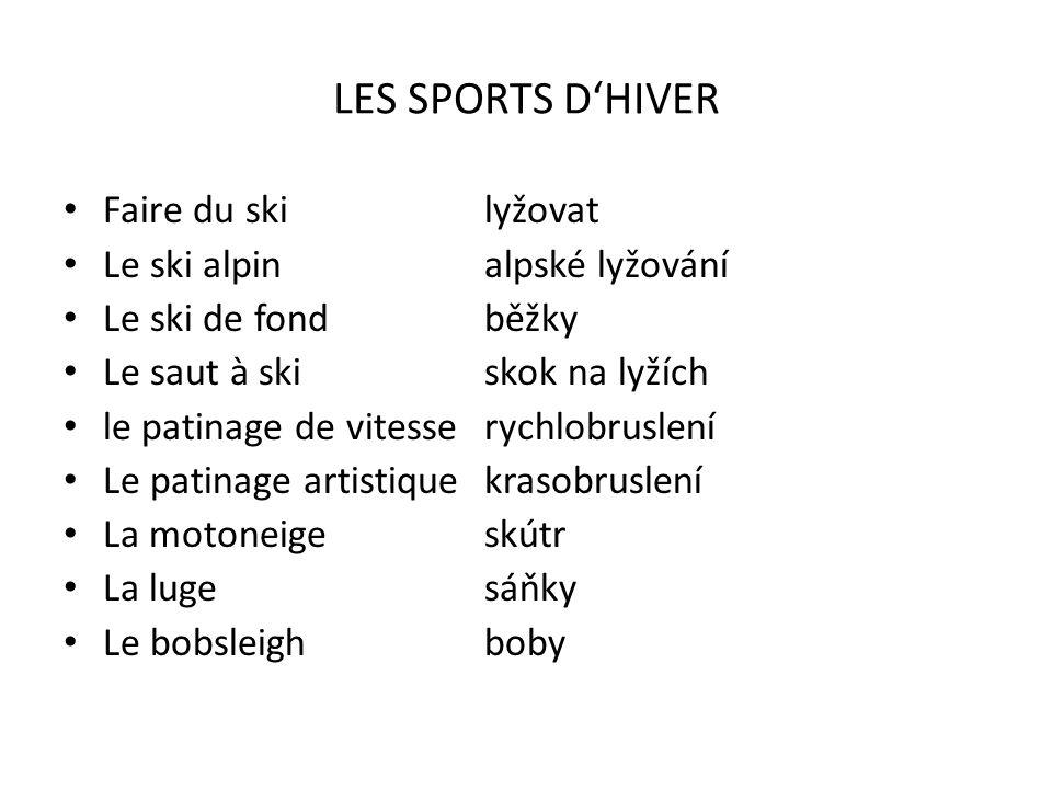 LES SPORTS D'HIVER Faire du ski lyžovat Le ski alpin alpské lyžování