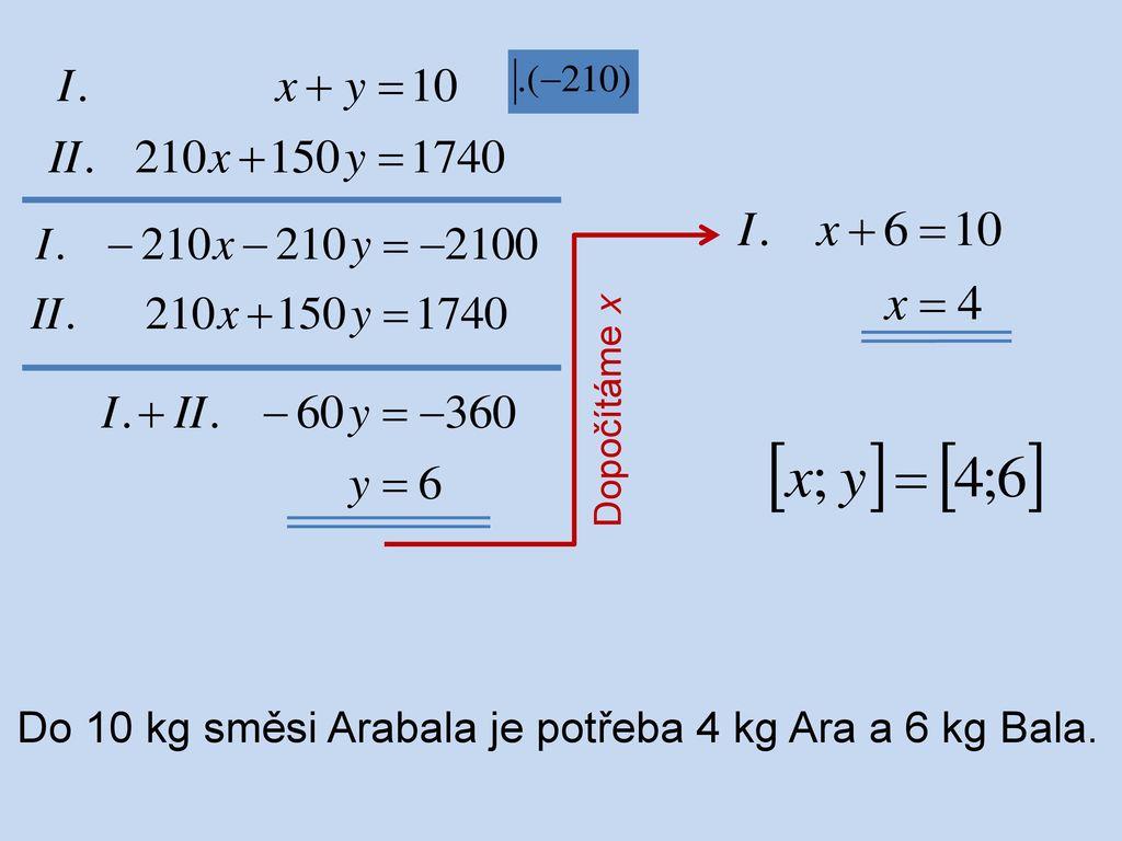 Do 10 kg směsi Arabala je potřeba 4 kg Ara a 6 kg Bala.