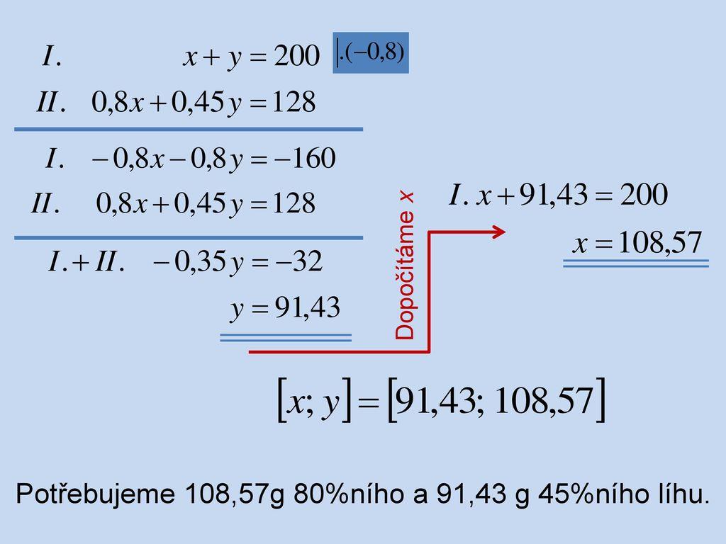 Potřebujeme 108,57g 80%ního a 91,43 g 45%ního líhu.