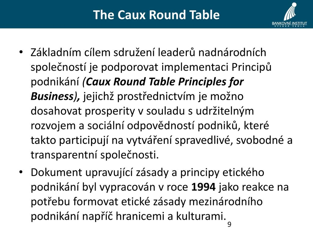 caux round table research Free bible & caux round table essays for students use myessayservicescom papers to help you.