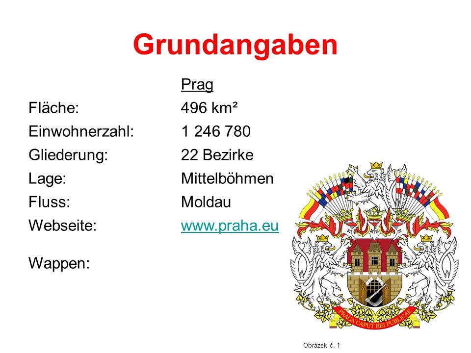 Grundangaben Prag Fläche: 496 km² Einwohnerzahl: 1 246 780 Gliederung: