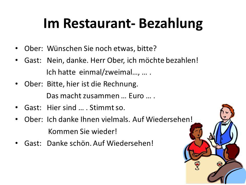 Im Restaurant- Bezahlung