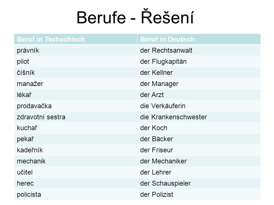 Berufe - Řešení Beruf in Tschechisch Beruf in Deutsch právník