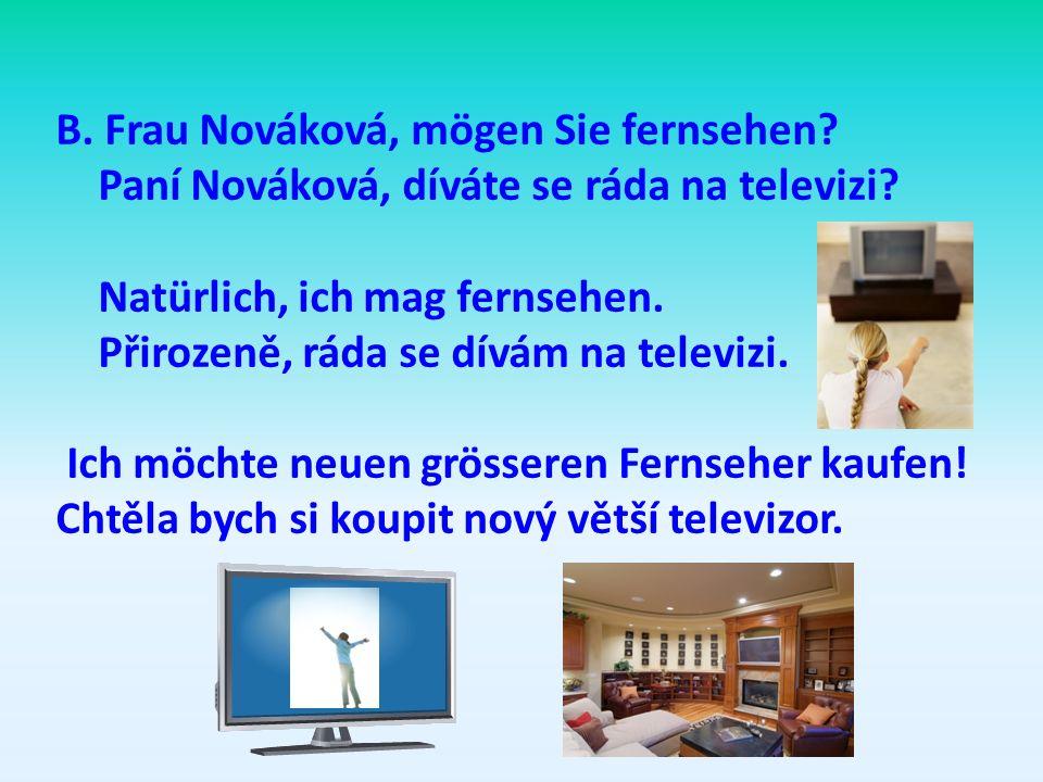B. Frau Nováková, mögen Sie fernsehen
