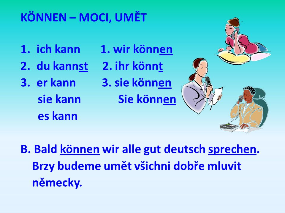KÖNNEN – MOCI, UMĚT ich kann 1. wir können. du kannst 2. ihr könnt. er kann 3. sie können.