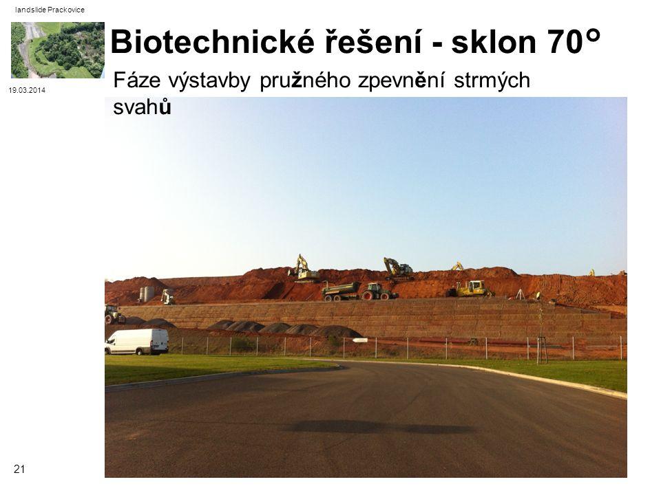 Biotechnické řešení - sklon 70°