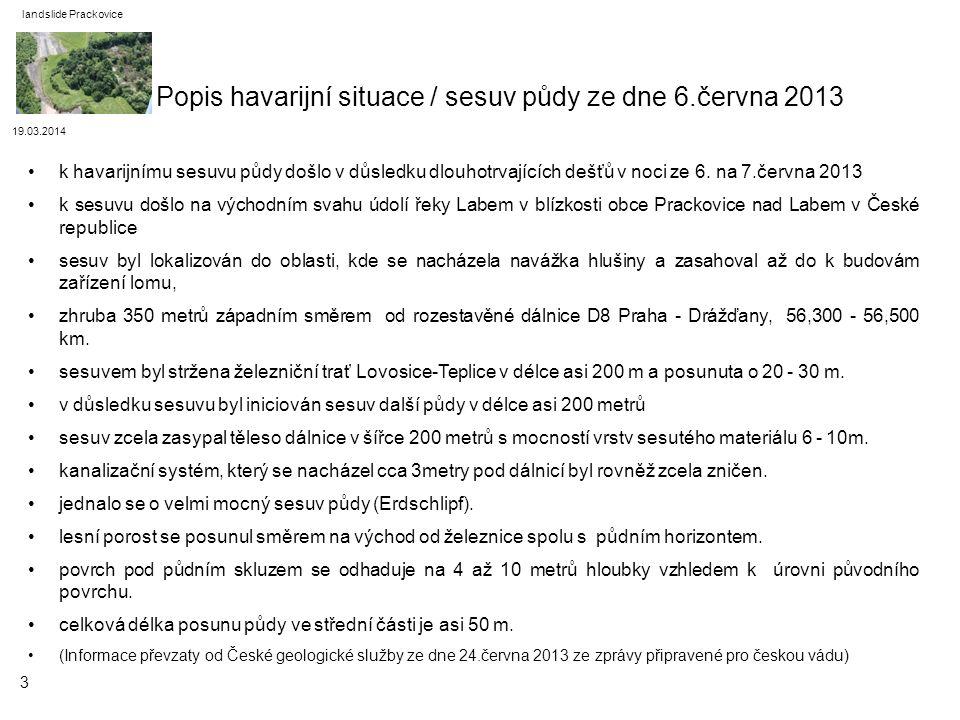 Popis havarijní situace / sesuv půdy ze dne 6.června 2013