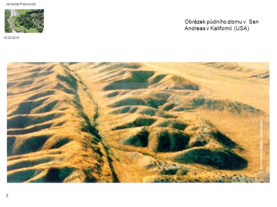 Obrázek půdního zlomu v San Andreas v Kalifornii (USA)