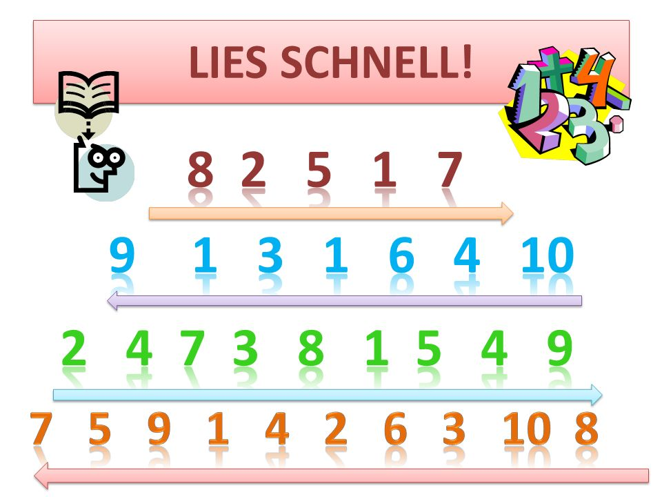LIES SCHNELL. 8 2 5 1 7. 1 3 1 6 4 10.